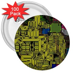 Technology Circuit Board 3  Buttons (100 pack)