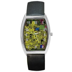Technology Circuit Board Barrel Style Metal Watch