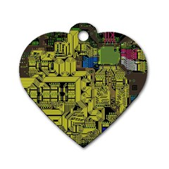 Technology Circuit Board Dog Tag Heart (Two Sides)