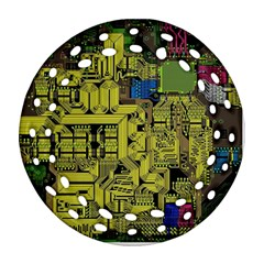 Technology Circuit Board Round Filigree Ornament (Two Sides)