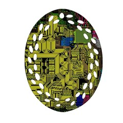 Technology Circuit Board Oval Filigree Ornament (Two Sides)