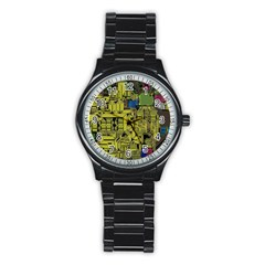 Technology Circuit Board Stainless Steel Round Watch