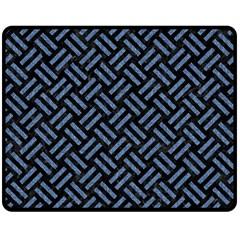 WOV2 BK-MRBL BL-LTHR Double Sided Fleece Blanket (Medium)