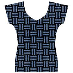 WOV1 BK-MRBL BL-LTHR Women s V-Neck Cap Sleeve Top
