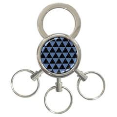 TRI3 BK-MRBL BL-LTHR 3-Ring Key Chains