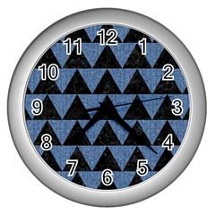 TRI2 BK-MRBL BL-LTHR Wall Clocks (Silver)