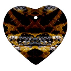 Textures Snake Skin Patterns Heart Ornament (Two Sides)