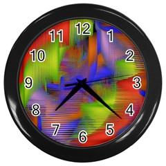 Texture Pattern Programming Processing Wall Clocks (Black)