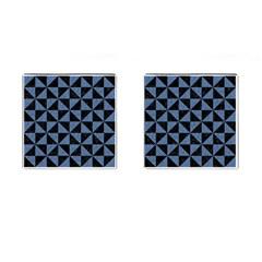 TRI1 BK-MRBL BL-LTHR Cufflinks (Square)