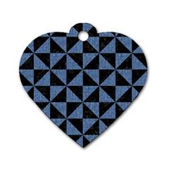TRI1 BK-MRBL BL-LTHR Dog Tag Heart (Two Sides)