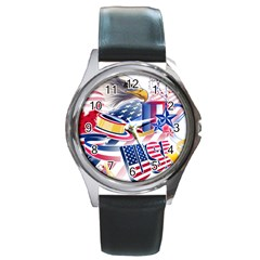 United States Of America Usa  Images Independence Day Round Metal Watch