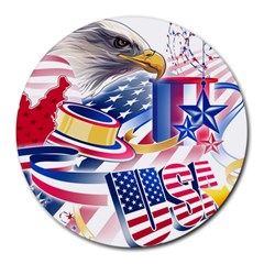 United States Of America Usa  Images Independence Day Round Mousepads