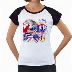 United States Of America Usa  Images Independence Day Women s Cap Sleeve T