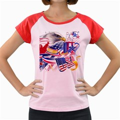 United States Of America Usa  Images Independence Day Women s Cap Sleeve T Shirt