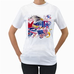 United States Of America Usa  Images Independence Day Women s T Shirt (white) (two Sided)