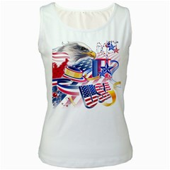 United States Of America Usa  Images Independence Day Women s White Tank Top