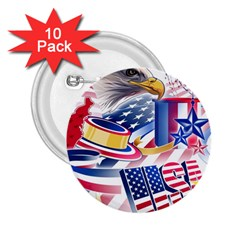 United States Of America Usa  Images Independence Day 2 25  Buttons (10 Pack)