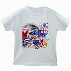 United States Of America Usa  Images Independence Day Kids White T Shirts