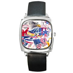 United States Of America Usa  Images Independence Day Square Metal Watch