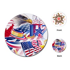 United States Of America Usa  Images Independence Day Playing Cards (Round)