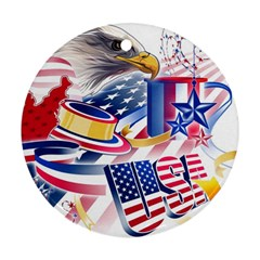 United States Of America Usa  Images Independence Day Round Ornament (two Sides)