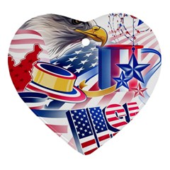 United States Of America Usa  Images Independence Day Heart Ornament (Two Sides)