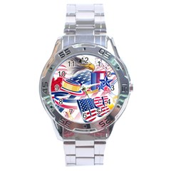 United States Of America Usa  Images Independence Day Stainless Steel Analogue Watch