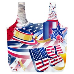 United States Of America Usa  Images Independence Day Full Print Recycle Bags (l)