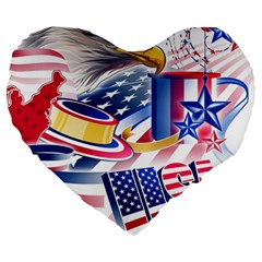 United States Of America Usa  Images Independence Day Large 19  Premium Flano Heart Shape Cushions