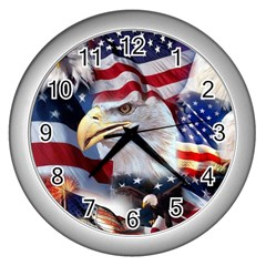 United States Of America Images Independence Day Wall Clocks (silver)
