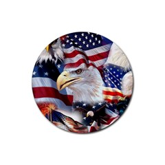 United States Of America Images Independence Day Rubber Round Coaster (4 pack)