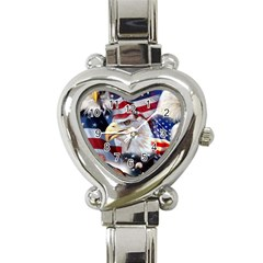 United States Of America Images Independence Day Heart Italian Charm Watch