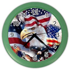 United States Of America Images Independence Day Color Wall Clocks