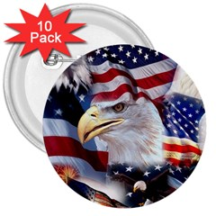United States Of America Images Independence Day 3  Buttons (10 pack)