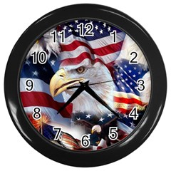 United States Of America Images Independence Day Wall Clocks (Black)