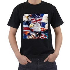 United States Of America Images Independence Day Men s T-Shirt (Black) (Two Sided)