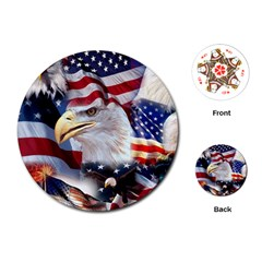 United States Of America Images Independence Day Playing Cards (Round)