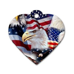 United States Of America Images Independence Day Dog Tag Heart (two Sides)