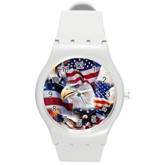United States Of America Images Independence Day Round Plastic Sport Watch (M)