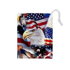 United States Of America Images Independence Day Drawstring Pouches (medium)