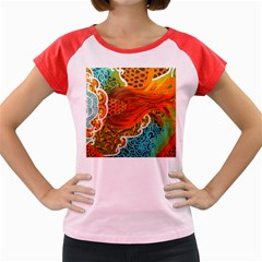 The Beautiful Of Art Indonesian Batik Pattern Women s Cap Sleeve T-Shirt