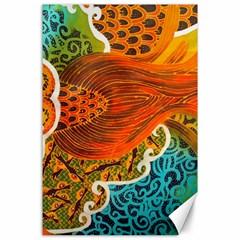 The Beautiful Of Art Indonesian Batik Pattern Canvas 24  X 36