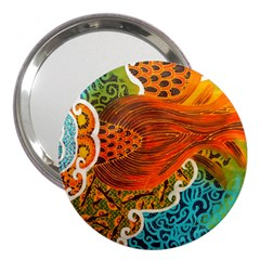 The Beautiful Of Art Indonesian Batik Pattern 3  Handbag Mirrors