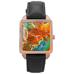 The Beautiful Of Art Indonesian Batik Pattern Rose Gold Leather Watch