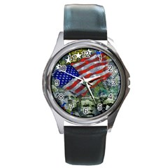 Usa United States Of America Images Independence Day Round Metal Watch