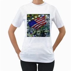Usa United States Of America Images Independence Day Women s T-Shirt (White) (Two Sided)