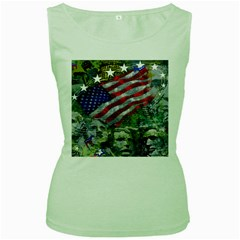 Usa United States Of America Images Independence Day Women s Green Tank Top