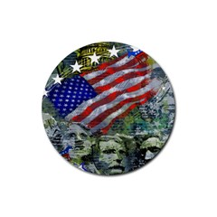 Usa United States Of America Images Independence Day Rubber Coaster (Round)
