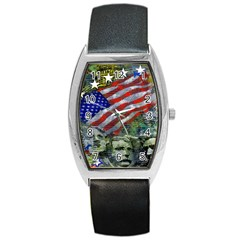 Usa United States Of America Images Independence Day Barrel Style Metal Watch