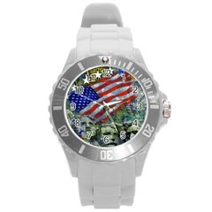 Usa United States Of America Images Independence Day Round Plastic Sport Watch (l)